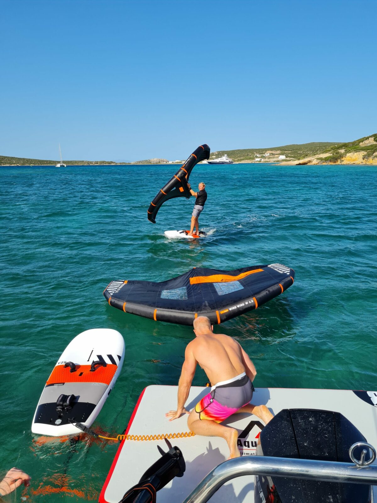 wing foiling naxos greece sea secret boat trips kite surf rrd flisvos sport club