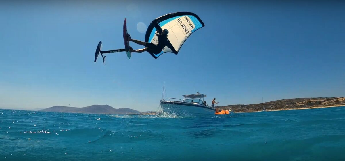 Wing Foiling ensis paros koufonissia boat trip Naxos, Greece sea secret boattrip flisvos sport club griechenland urlaub wassersport ferien sommer aktiv