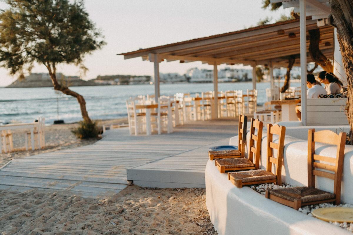beach cafe restaurant by the sea Naxos beachclub