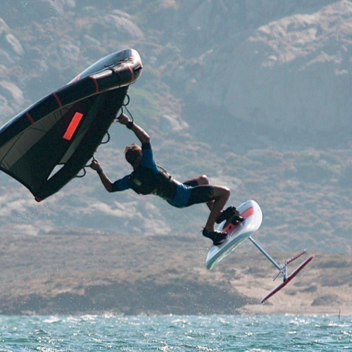 Wing Foiling at St. George Beach, Naxos, Greece