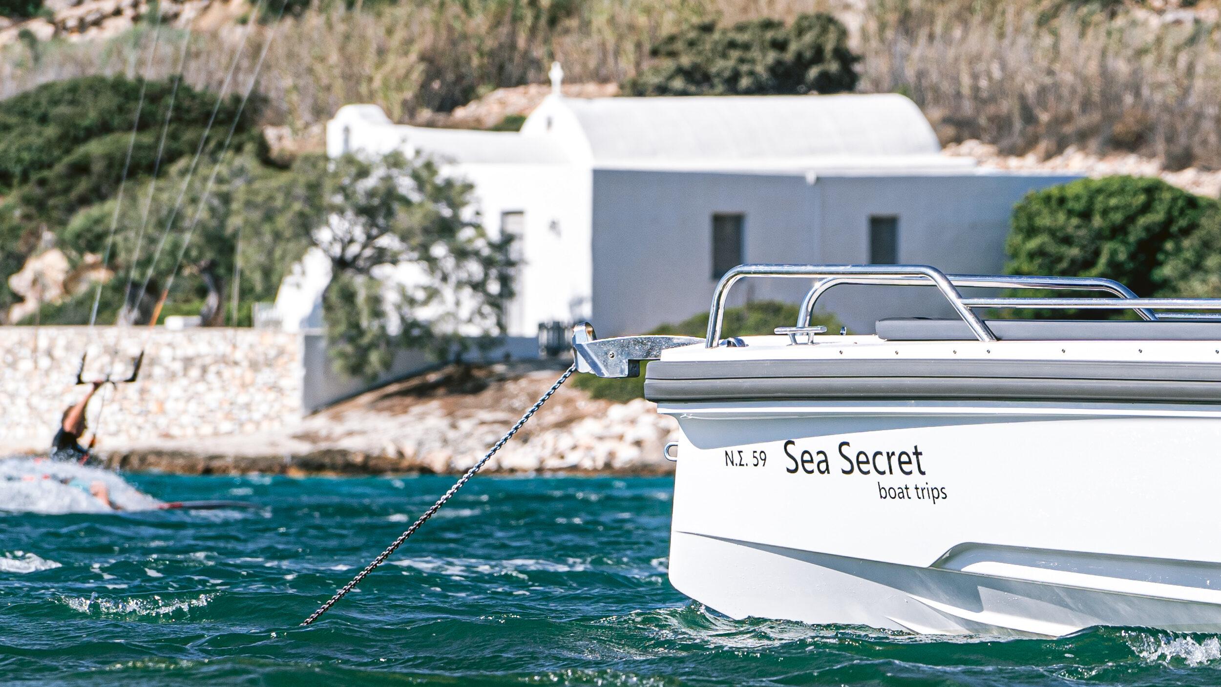 seasecret boat trips boot touren naxos greece griechenland urlaub ferien sommer wassersport kitesurfen axopar 28 TT