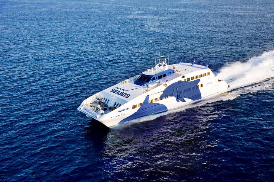 highspeed ferry seayet naxos pireaus athens mykonos paros greece flisvos sportclub