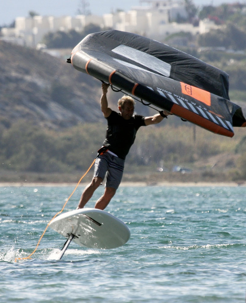Wing Foiling at Flisvos Sportclub, Naxos Greece